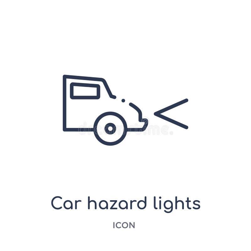 从汽车零件概述汇集的线性汽车危险光象 稀薄的线汽车危险光在白色背景导航隔绝 库存例证