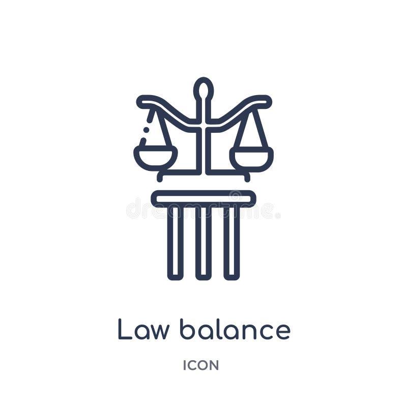 从法律和正义概述汇集的线性法律平衡象 稀薄的线法律在白色背景隔绝的平衡象 法律 库存例证