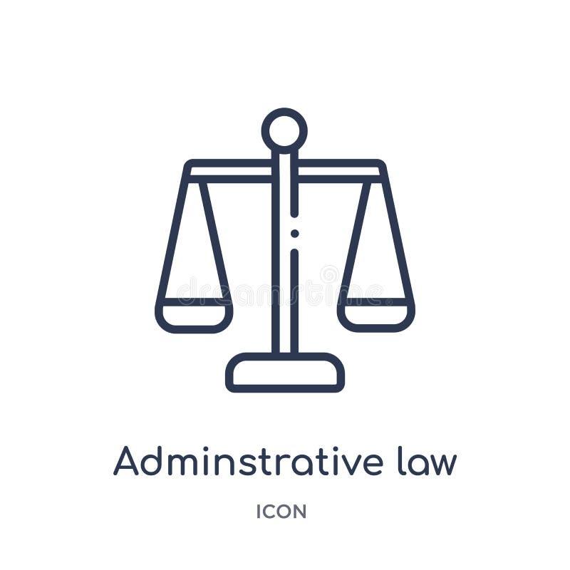 从法律和正义概述汇集的线性行政法象 稀薄的线在白色隔绝的行政法象 皇族释放例证