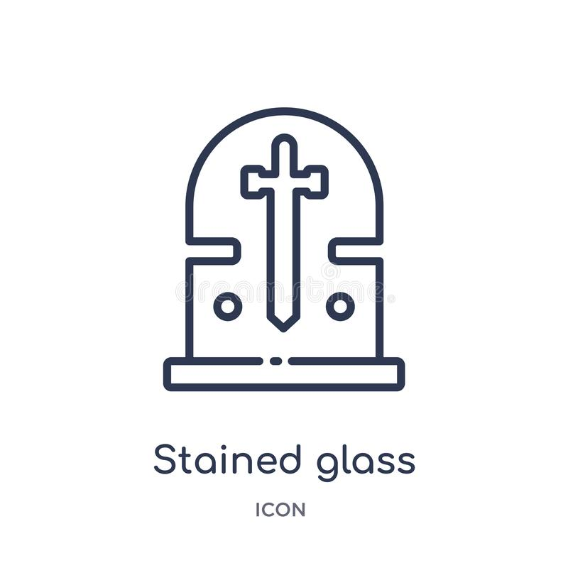 从混杂概述收藏的线性污迹玻璃窗象 稀薄的线在白色污迹玻璃窗象被隔绝 向量例证