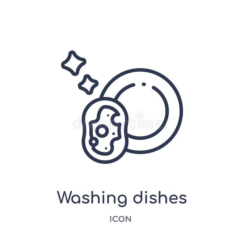 从清洗的概述收藏的线性洗碗象 稀薄的线洗碗在白色背景导航隔绝 洗涤物 向量例证