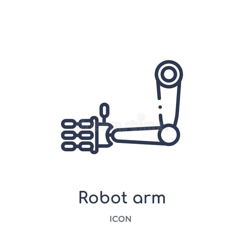 从未来技术概述收藏的线性机器人胳膊象 稀薄的线机器人在白色背景隔绝的胳膊象 机器人胳膊 库存例证