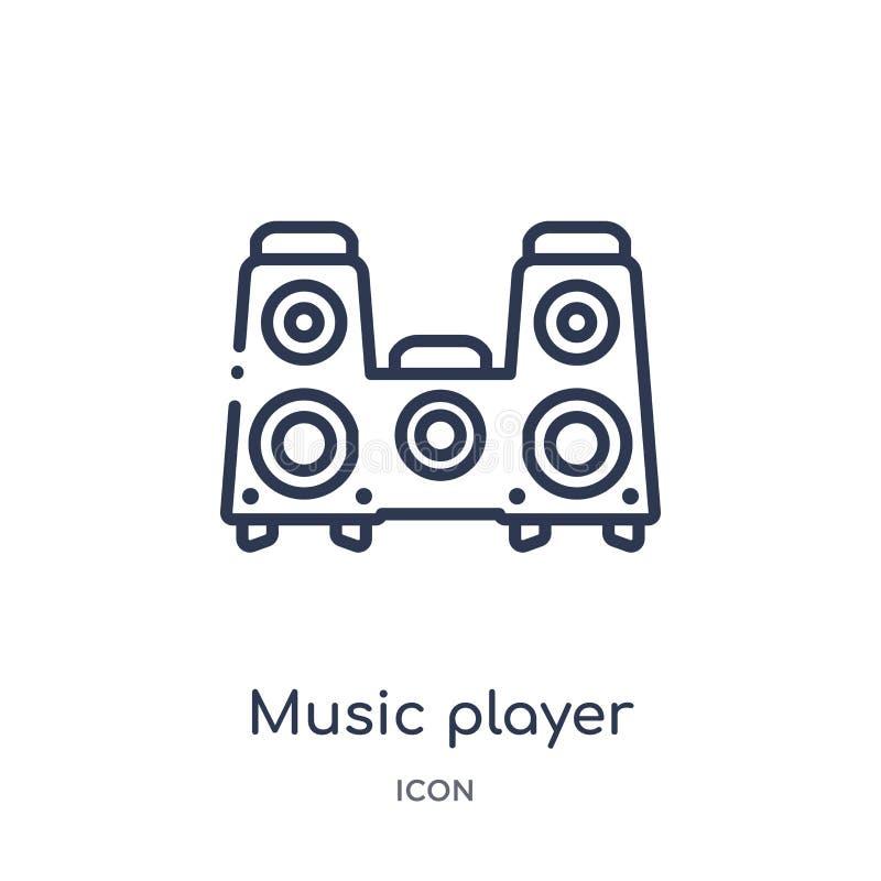 从技术概述汇集的音乐播放器大报告人象 稀薄的线在白色隔绝的音乐播放器大报告人象 库存例证