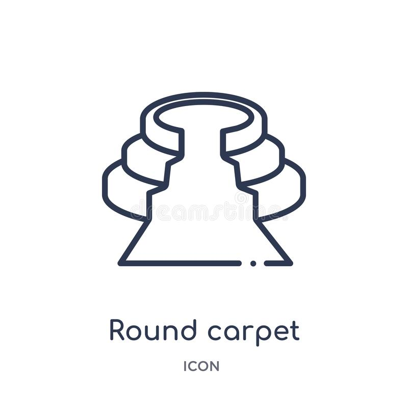从戏院概述汇集的线性圆的地毯象 稀薄的线在白色背景隔绝的圆的地毯象 来回的地毯 皇族释放例证