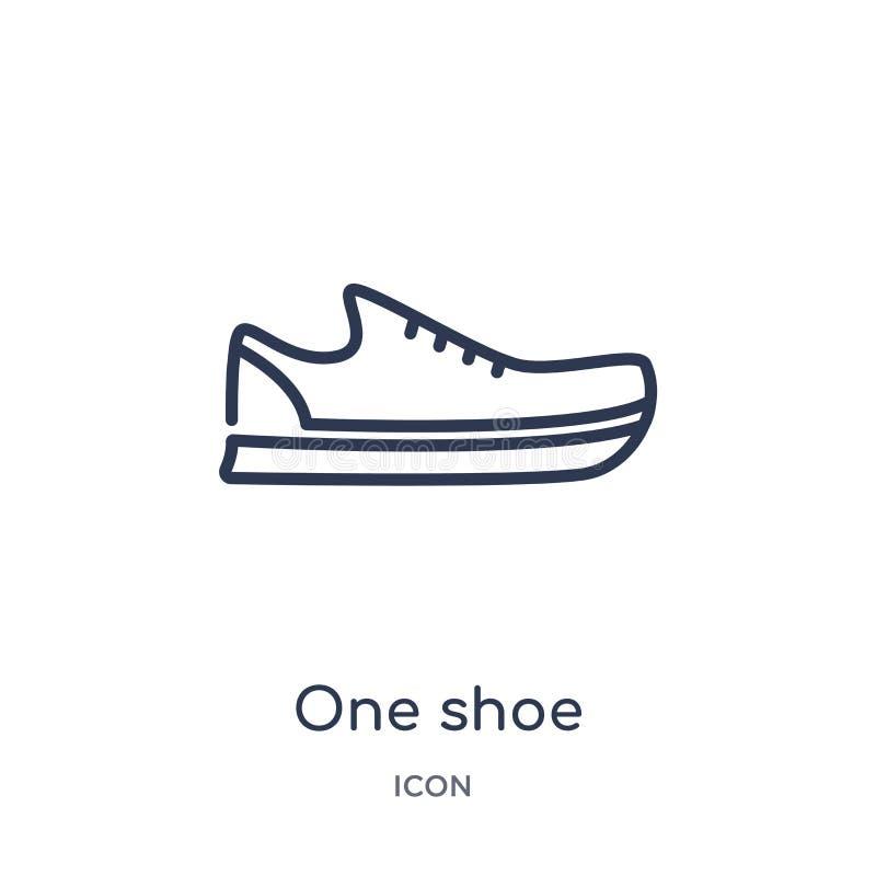 从时尚概述汇集的线性一个鞋子象 稀薄的线一在白色背景隔绝的鞋子象 时髦一双的鞋子 皇族释放例证