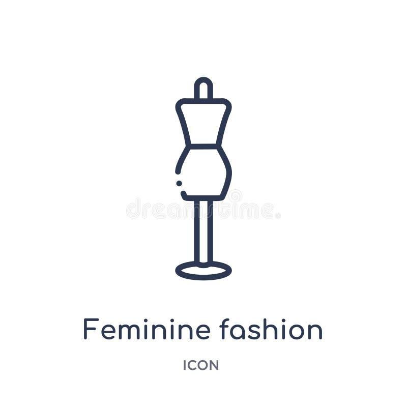 从时尚概述汇集的线性女性时尚象 稀薄的线在白色背景隔绝的女性时尚象 向量例证