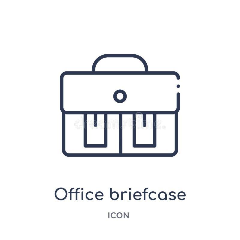 从时尚概述汇集的线性办公室公文包象 稀薄的线办公室在白色背景隔绝的公文包象 办公室 向量例证