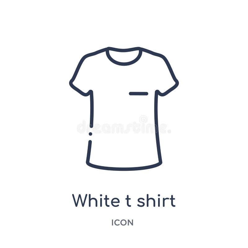 从时尚概述汇集的线性白色T恤杉象 稀薄的线在白色背景隔绝的白色T恤杉象 白色t 向量例证