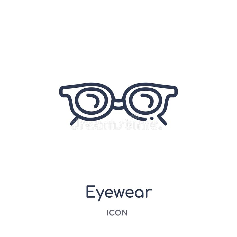 从时尚概述汇集的线性eyewear象 稀薄的线在白色背景隔绝的eyewear象 时髦的eyewear 库存例证