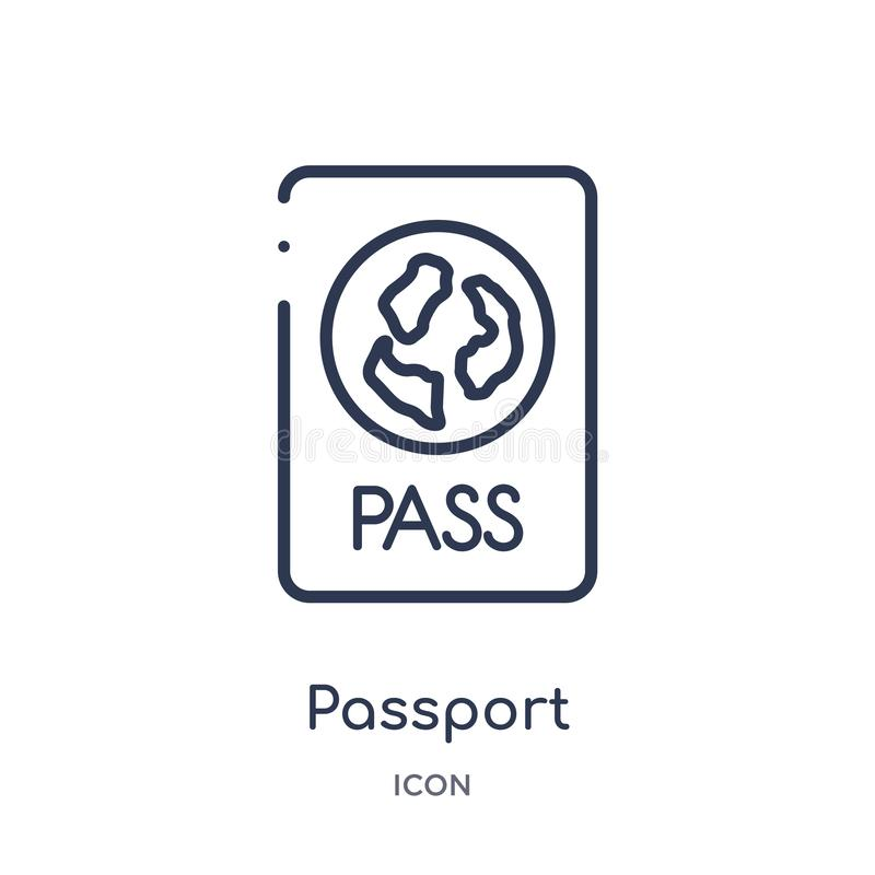 从旅馆概述汇集的线性护照象 稀薄的线在白色背景隔绝的护照象 时髦的护照 皇族释放例证