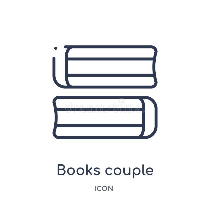 从教育概述汇集的线性书夫妇象 稀薄的线书在白色背景隔绝的夫妇象 书夫妇 皇族释放例证