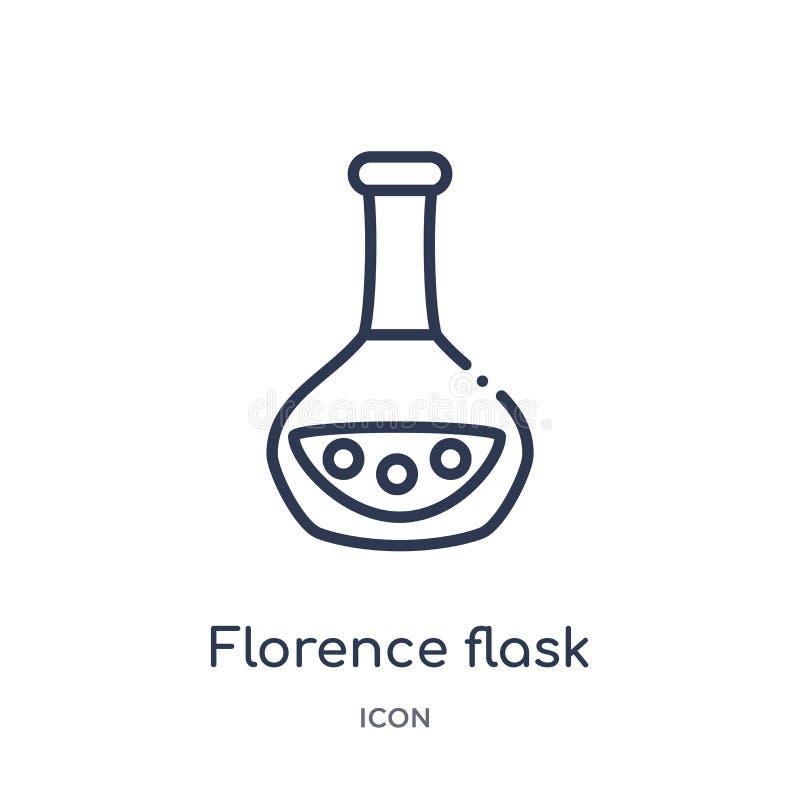 从教育概述汇集的线性佛罗伦萨烧瓶象 稀薄的线佛罗伦萨在白色背景隔绝的烧瓶象 佛罗伦萨 库存例证