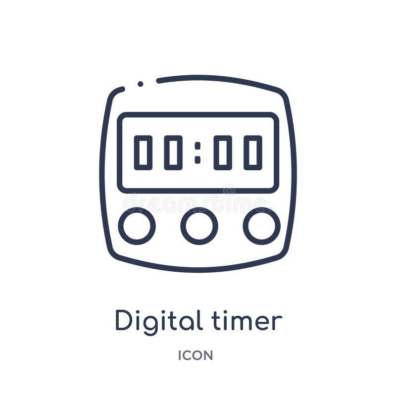 从教育概述汇集的线性数字定时器象 稀薄的线在白色背景隔绝的数字定时器象 数字式 皇族释放例证