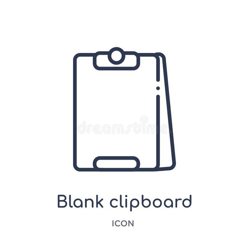 从教育概述汇集的线性空白的剪贴板象 稀薄的线空白在白色背景隔绝的剪贴板象 空白的 库存例证