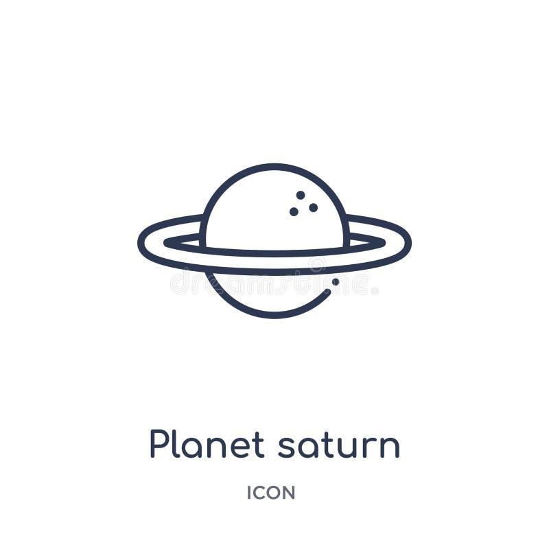 从教育概述汇集的线性行星土星象 稀薄的线行星在白色背景隔绝的土星象 行星 皇族释放例证