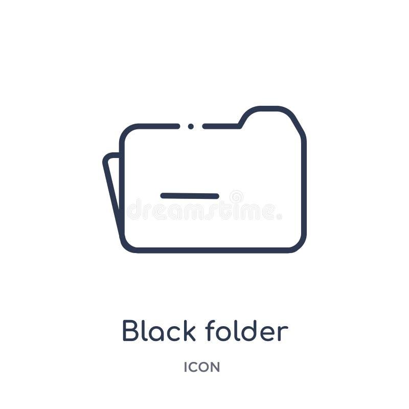 从教育概述汇集的线性黑文件夹象 稀薄的线黑色在白色背景隔绝的文件夹象 黑色文件夹 向量例证