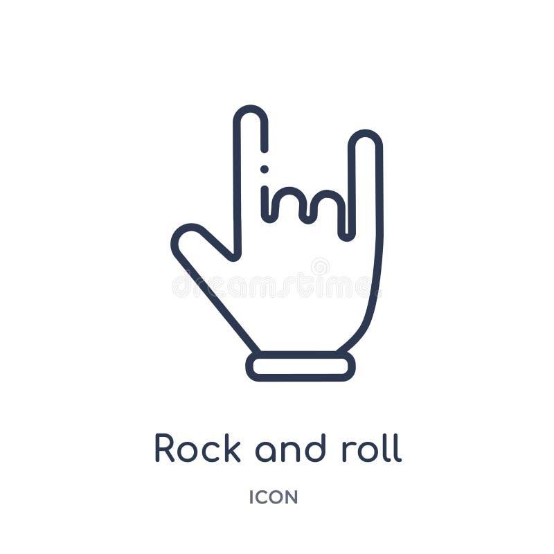 从手和guestures概述汇集的线性摇滚乐象 稀薄的线在白色背景隔绝的摇滚乐象 皇族释放例证