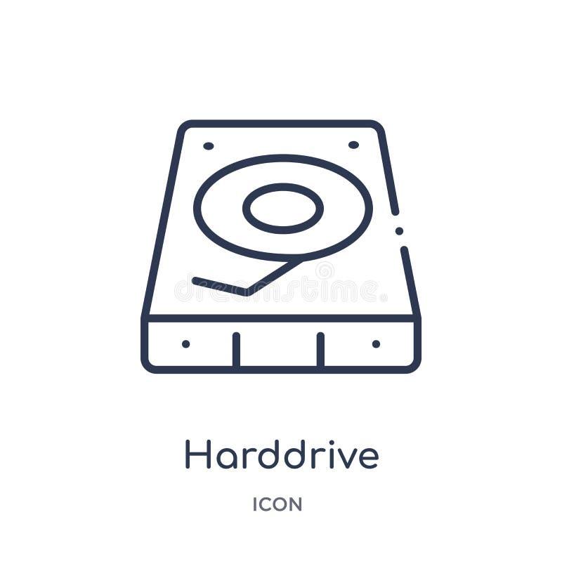 从硬件概述汇集的线性硬盘象 稀薄的线在白色背景隔绝的硬盘象 时髦的硬盘 库存例证