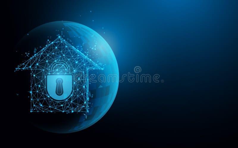 从线、三角和微粒样式设计的Smarthome安全 库存例证