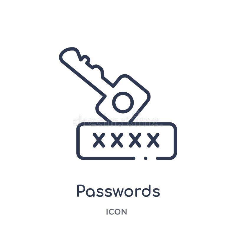 从网络概述汇集的线性密码象 稀薄的线密码在白色背景导航隔绝 时髦的密码 皇族释放例证