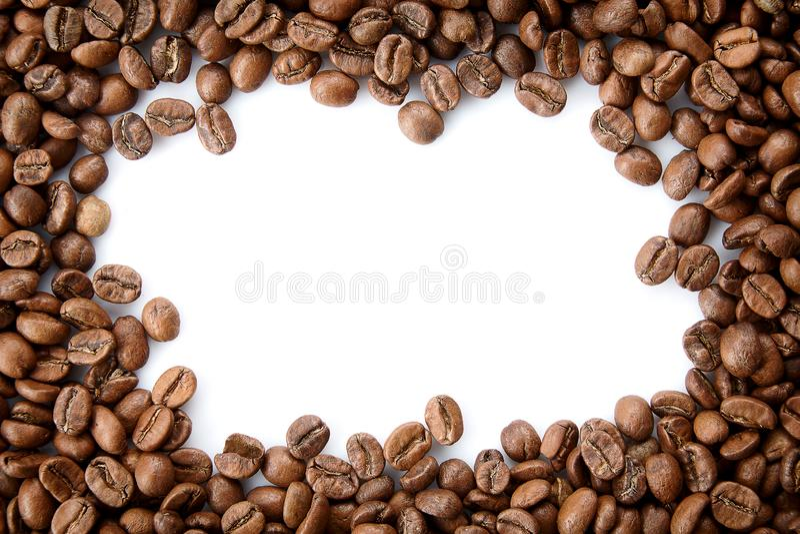 从烤咖啡豆的一个框架与空的拷贝空间 库存照片