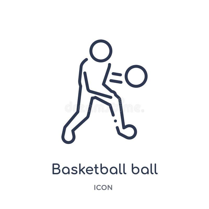 从爱好和时间概述汇集的线性篮球球象 稀薄的线篮球在白色隔绝的球象 向量例证
