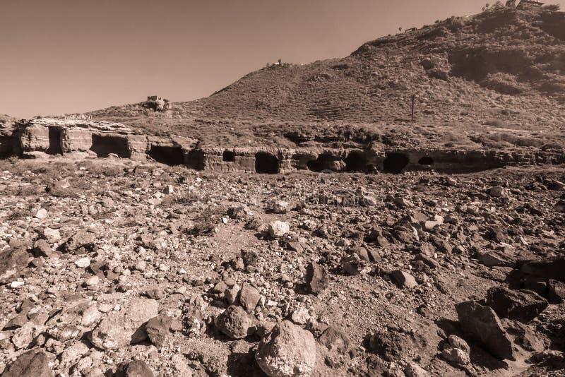 从特内里费岛岩石房子的有趣的废墟  库存图片