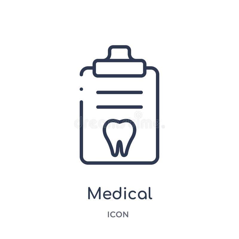 从牙医概述汇集的线性医疗处方象 稀薄的线在白色背景隔绝的医疗处方象 向量例证