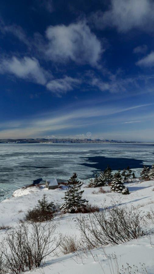 从盖帽采取的加斯佩海湾的冬天视图加斯佩 免版税图库摄影