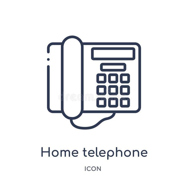 从电子概述汇集的线性家庭电话象 稀薄的线家在白色背景隔绝的电话象 家 向量例证