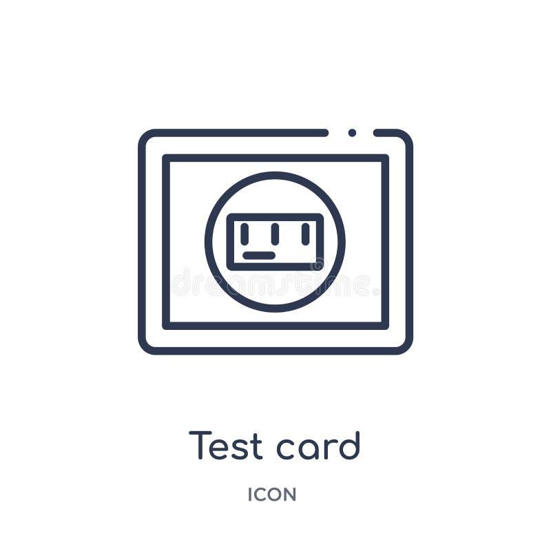 从电子概述汇集的线性测试卡片象 稀薄的线测试在白色背景隔绝的卡片象 时髦测试的卡片 向量例证