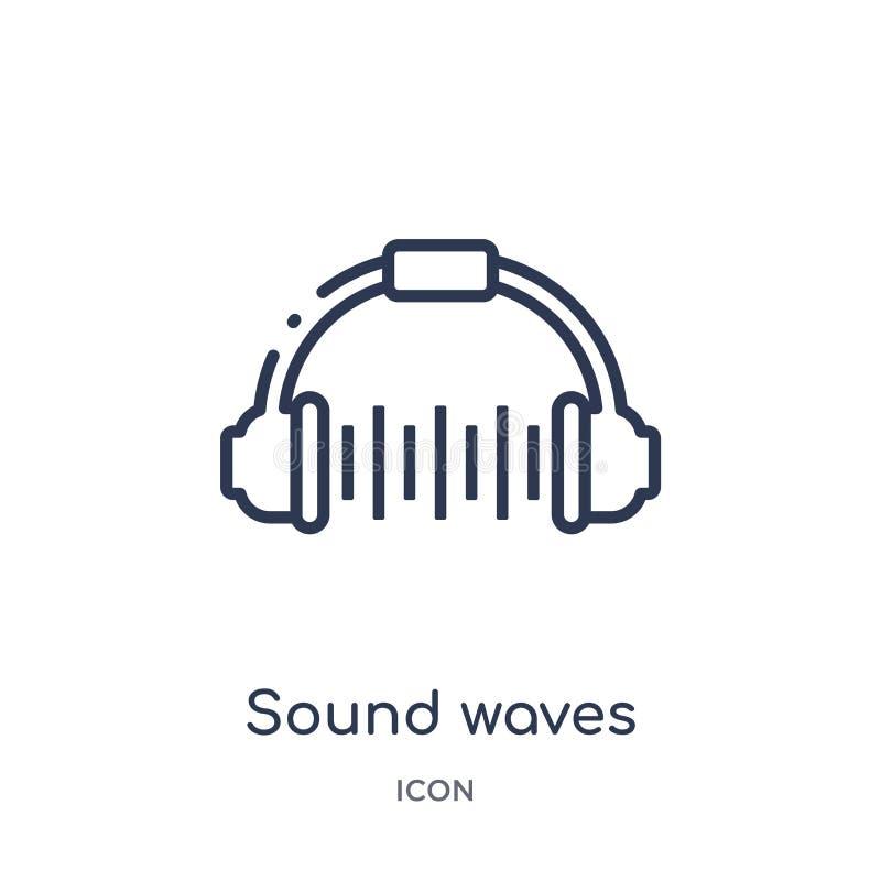 从迪斯科舞厅概述汇集的线性声波象 稀薄的线声波在白色背景导航隔绝 声音 皇族释放例证