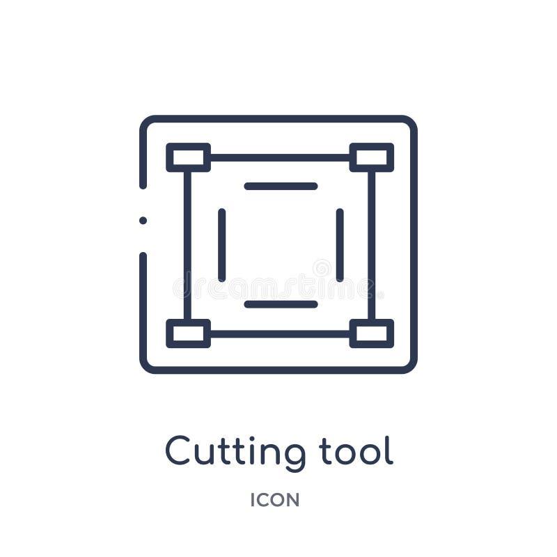 从艺术概述汇集的线性切割工具选择象 稀薄的线切割工具在白色背景隔绝的选择象 库存例证