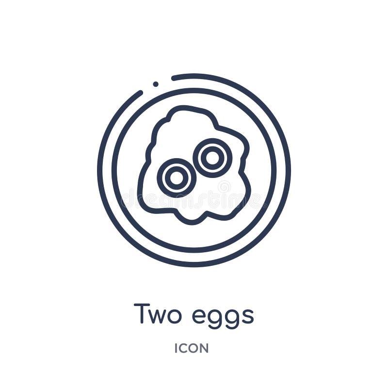 从食物概述汇集的线性两个蛋象 稀薄的线两在白色背景隔绝的蛋象 时髦两个的鸡蛋 皇族释放例证