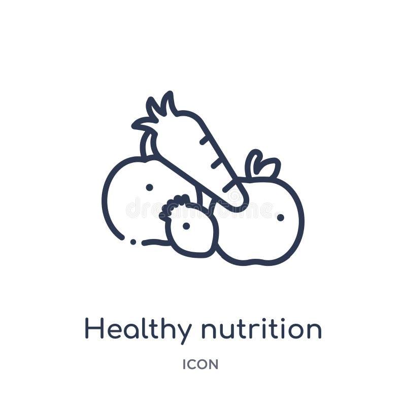 从食物概述汇集的线性健康营养象 稀薄的线在白色背景隔绝的健康营养象 健康 库存例证