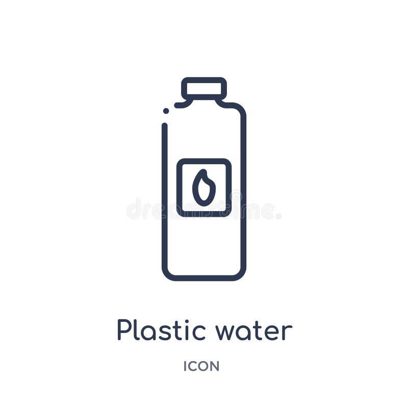 从食物概述汇集的线性塑料水瓶象 稀薄的线在白色背景隔绝的塑料水瓶象 库存例证