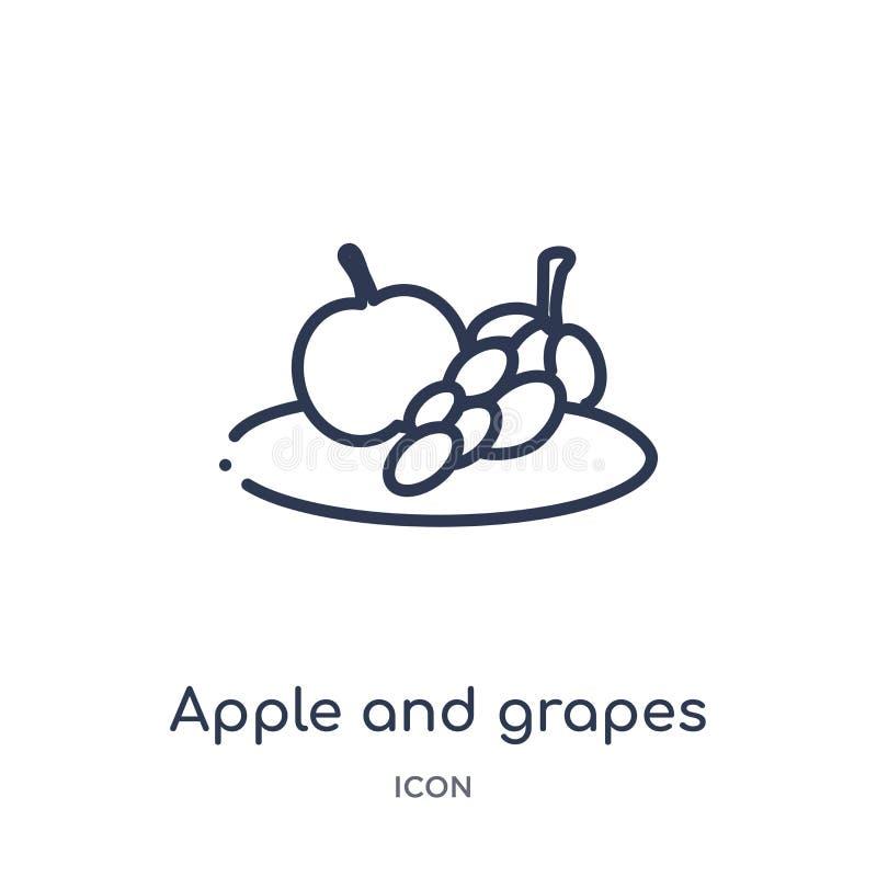 从食物概述汇集的线性苹果和葡萄象 稀薄的线苹果和在白色背景隔绝的葡萄象 苹果和 库存例证