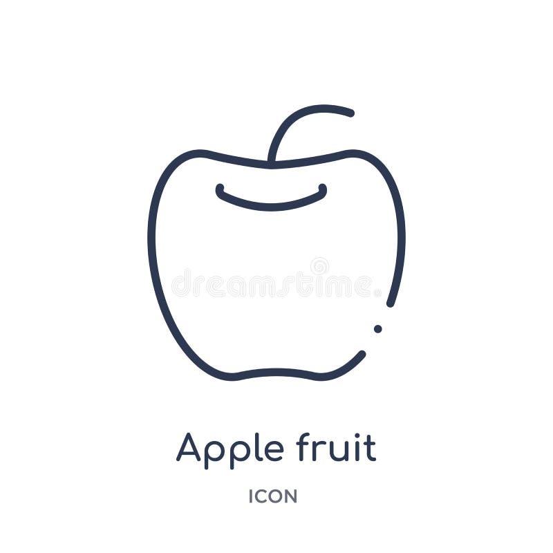 从食物概述汇集的线性苹果果子象 稀薄的线苹果在白色背景隔绝的果子象 时髦苹果的果子 库存例证