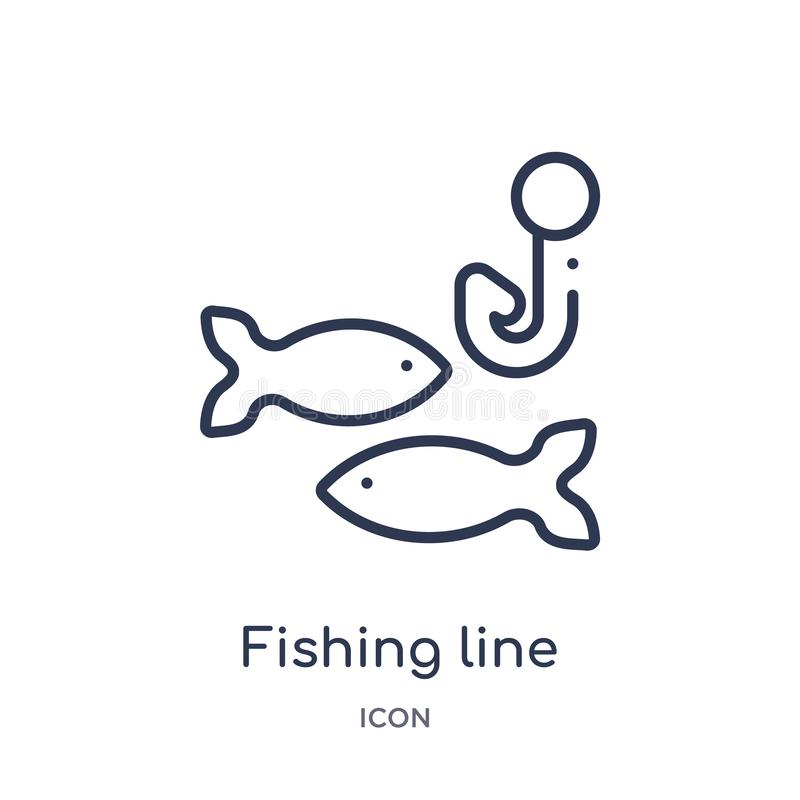 从食物概述汇集的线性钓鱼线象 稀薄的线在白色背景隔绝的钓鱼线象 钓丝 库存例证