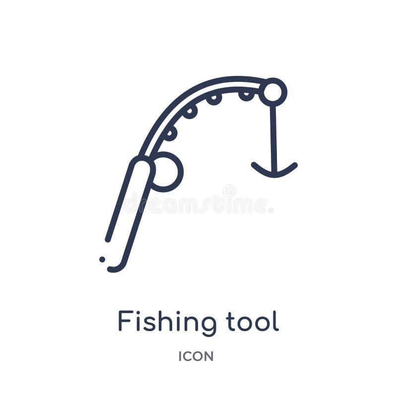 从食物概述汇集的线性钓鱼的工具象 钓鱼工具象的稀薄的线隔绝在白色背景 渔工具 向量例证
