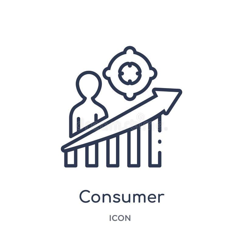 从销售的概述收藏的线性消费者象 稀薄的线在白色背景隔绝的消费者象 时髦的消费者 皇族释放例证