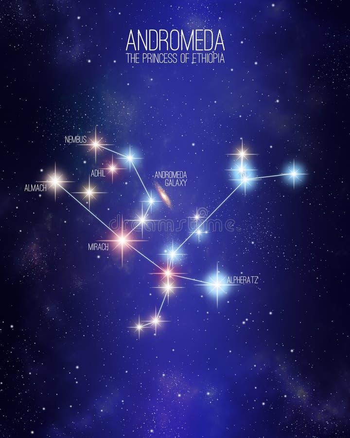 仙女座埃塞俄比亚星座的公主在满天星斗的空间背景的 向量例证