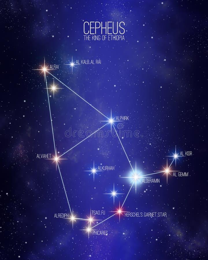 仙王星座埃塞俄比亚星座的国王在满天星斗的空间背景的 库存例证