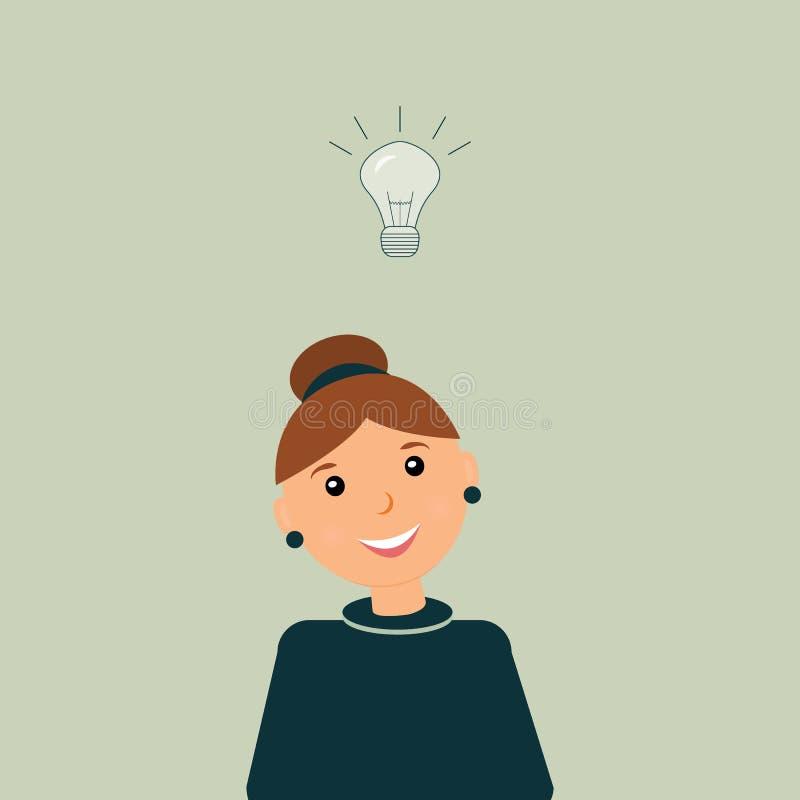 企业想法的概念:有包括的灼烧的电灯泡的种类美丽的微笑的女会计在头上作为隐喻或 向量例证