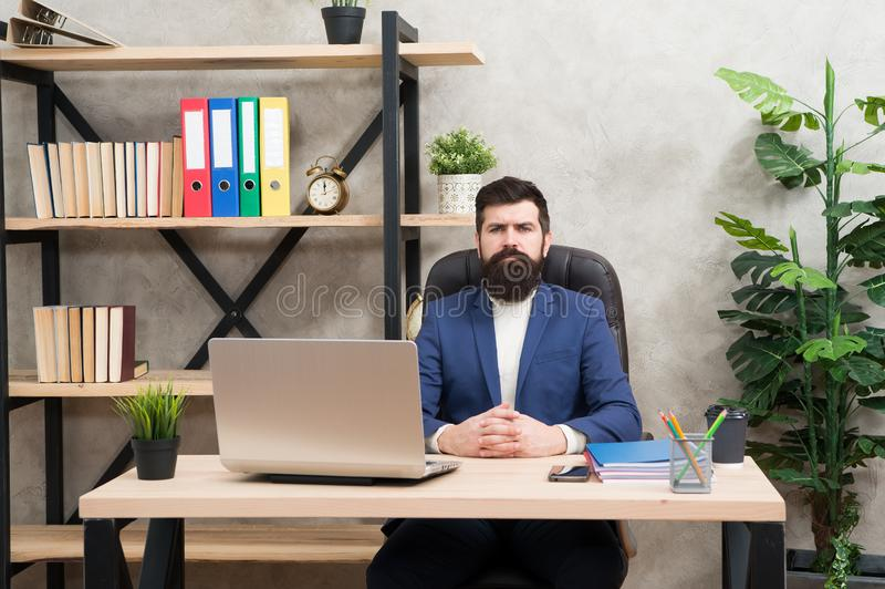 企业教练 残酷商人在办公室 有胡子的成熟人 有胡子的行家用途计算机 男性上司工作 免版税库存图片