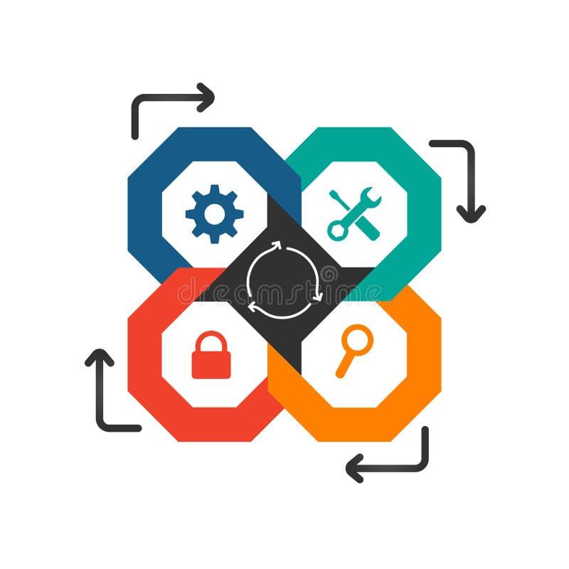 企业infographic模板 与4选择的现代八角型Infographics时间安排设计模板或步和额外象和 库存例证
