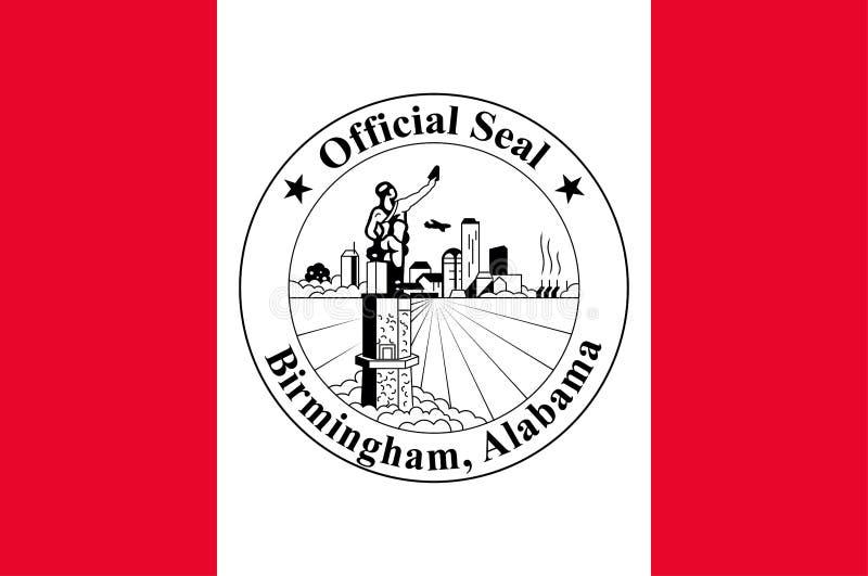伯明翰,阿拉巴马,美国旗子  向量例证
