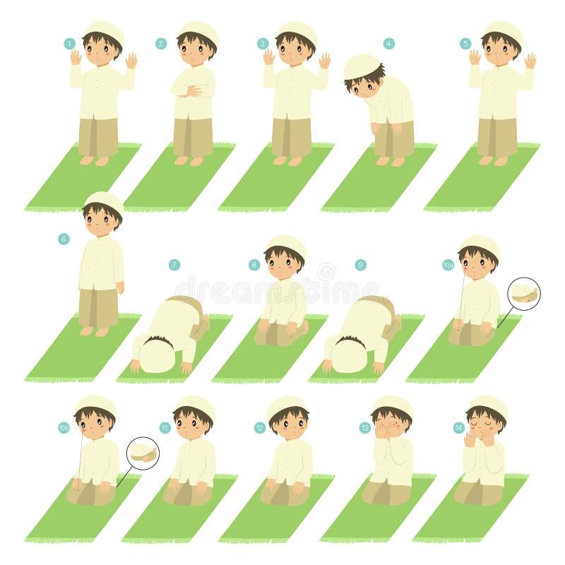 伊斯兰教的祷告或萨拉特河指南孩子传染媒介的 向量例证