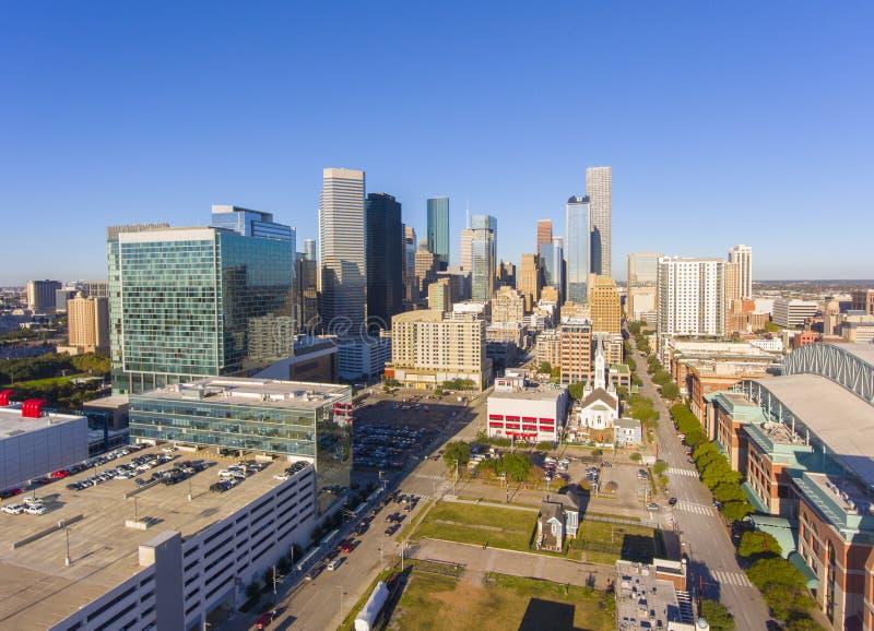 休斯敦现代市鸟瞰图,得克萨斯,美国 库存图片