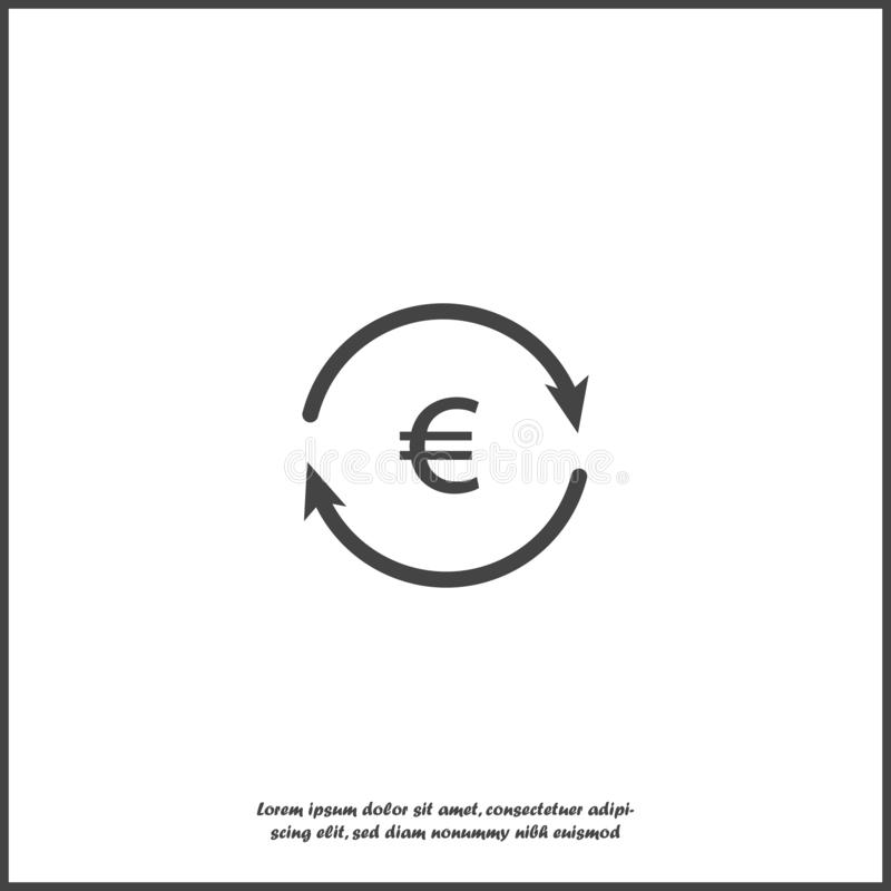 传染媒介与箭头和欧元标志的圈子象 在白色被隔绝的背景的汇兑标志 皇族释放例证